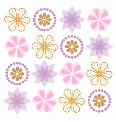 Set of ornate flowers vector