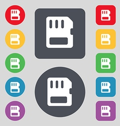 Compact memory card icon sign a set of 12 colored vector