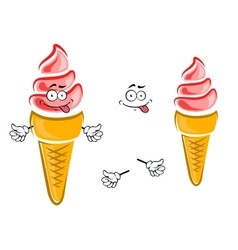 Strawberry ice cream cone cartoon character vector