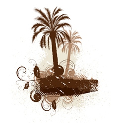 Isolated palm trees and leaves vector