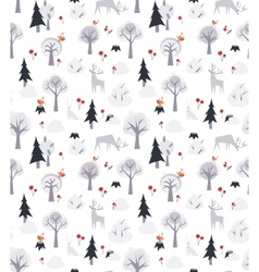 Pattern with deers and trees vector