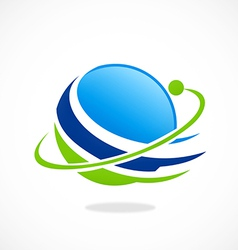 Globe planet orbit space abstract logo vector