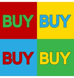 Pop art buy icons vector