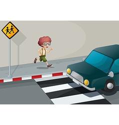 A boy running near the pedestrian lane vector