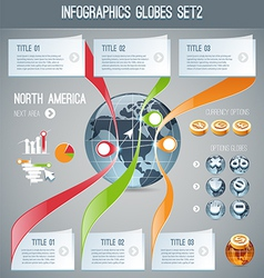 Globes infographics set2 vector