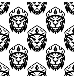 Seamless pattern of a crowned royal lion vector