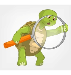 Funny turtle finding vector