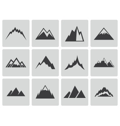 Black mountains icons set vector
