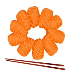Salmon sashimi with chopsticks on white background vector