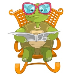 Funny turtle reading vector