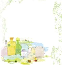 Water color jars copy space vector