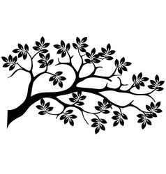 Black tree silhouette isolated vector