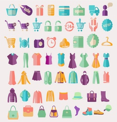 Fashion clothing and shopping related icon vector