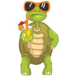 Funny turtle drinking cocktail vector