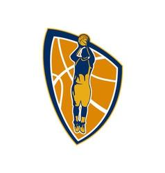 Basketball player jump shot ball shield retro vector