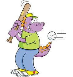 Cartoon dinosaur hitting a baseball vector