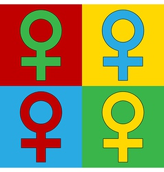 Pop art gender female icons vector