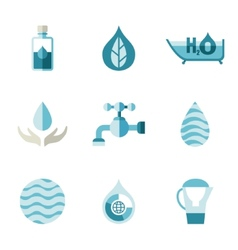Water ecology freshness characters in a flat vector