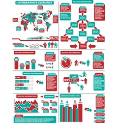 Infographic demographics 11 red vector