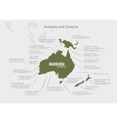 Infographics continent australia and oceania green vector