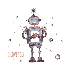 Robot with heart i love you vector