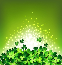 Abstract light on shamrock for patricks day card vector
