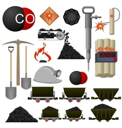 Objects coal mining industry vector