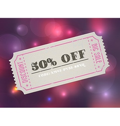 Old concert vintage paper sale coupon with code vector