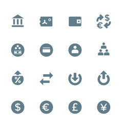 Solid grey various financial banking icons set vector
