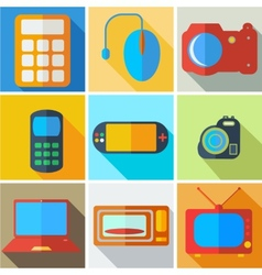 Collection modern flat icons computer technology vector