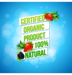 Certified organic product 100 percent natural vector