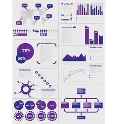 Infographic demographics 5 purple vector