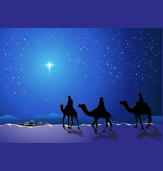 Three wise men go for the star of bethlehem vector