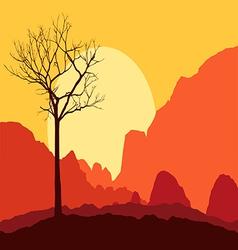 Tree dry landscape scene background vector