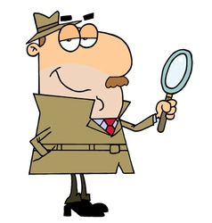 Caucasian cartoon detective man vector