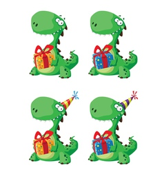 Cute dinosaur with a gift set vector