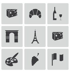 Black paris icons set vector