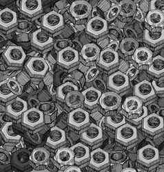 Hand drawn metal screw nuts texture vector