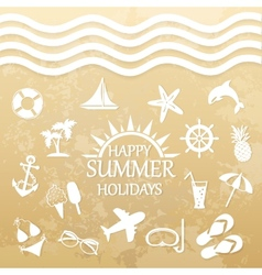 Happy summer holiday icons for summer vector