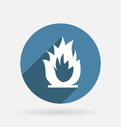 Fire sign circle blue icon with shadow vector