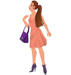 Cartoon young woman in pink dress and purple bag vector