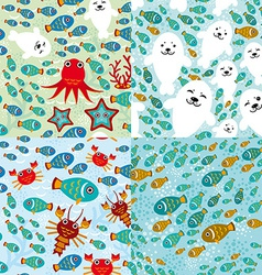 Seamless pattern with fish sea lions octopus vector