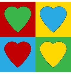 Pop art heart icons vector