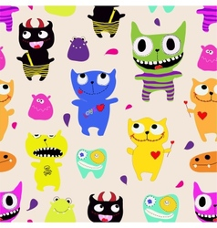 Seamless pattern of funny monsters - vector