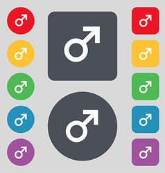 Male sex icon sign a set of 12 colored buttons vector