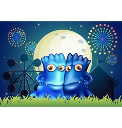 Two blue monsters holding each other at the park vector