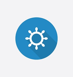 Ship wheel flat blue simple icon with long shadow vector