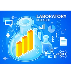 Bright laboratory research and bar chart on vector