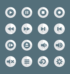 Flat style various media player icons set vector