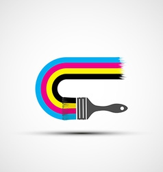 Logo cmyk rainbow and paint brush vector